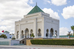 Mausoleum of Mohammed V. The Mausoleum of Mohammed V, a historical building located on the opposite side of the Hassan Tower on the Yacoub al-Mansour esplanade Royalty Free Stock Images