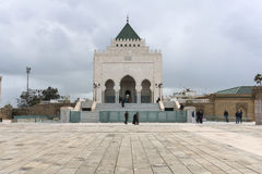 The Mausoleum of Mohammed V. A historical building located on the opposite side of the Hassan Tower on the Yacoub al-Mansour esplanade in Rabat, Morocco royalty free stock images