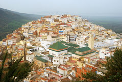 Mausoleum, Moulay Idriss, Morocco. The holy city of Moulay Idriss was off-limit for non-Muslims for decades. No it is open, but still forbidden to sleep there Stock Photography
