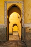 Mausoleum of Moulay Ismail interior in Meknes in Morocco. Mausoleum of Moulay Ismail is a tomb and mosque located in the Morocco city of Meknes stock image