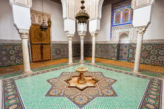 Mausoleum Moulay Ismail. Mausoleum of Moulay Ismail interior in Meknes in Morocco. Mausoleum of Moulay Ismail is a tomb and mosque located in the Morocco city of Stock Photo