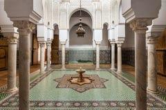 Mausoleum Moulay Ismail. MEKNES, MOROCCO - FEBRUARY 29, 2016: Mausoleum of Moulay Ismail interior in Meknes in Morocco. Mausoleum of Moulay Ismail is a tomb and stock photo