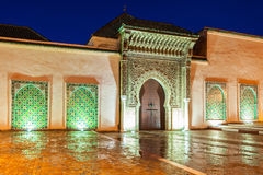 Mausoleum Moulay Ismail. The Mausoleum of Moulay Ismail in Meknes in Morocco. Mausoleum of Moulay Ismail is a tomb and mosque located in the Morocco city of Stock Photo