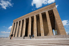 Mausoleum of Mustafa Kemal Ataturk. ANKARA, TURKEY – APRIL 15: Unidentified visitors take photos at the mausoleum of Ataturk on April 15, 2012 in Ankara Royalty Free Stock Photos