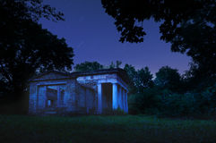 Mausoleum in the night. The photo was taken on an abandoned mausoleum in the forest in Hungary duringh night royalty free stock photography