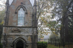 Mausoleum in an Old Pioneer Cemetery in fog Royalty Free Stock Image