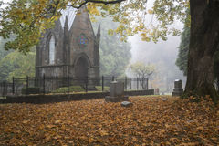 Mausoleum in an Old Pioneer Cemetery in fog Stock Photos