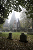 Mausoleum in an Old Pioneer Cemetery in fog. Mausoleum in a foggy old Pioneer Cemetery covered Royalty Free Stock Photography