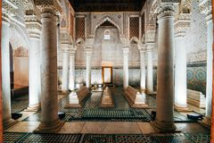Saadian tombs of marrakech, morocco. Mausoleum of saadian tombs at Marrakesh old Medina city, Morocco royalty free stock photography