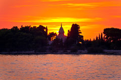 Mausoleum of Supetar sunset silhouette view Stock Photo