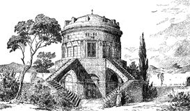 Mausoleum of Theoderic in Ravenna Italy, XIX century engraving Royalty Free Stock Photo