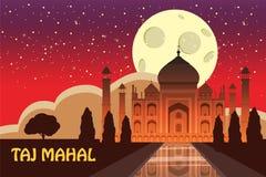 Mausoleum van Taj Mahal in Agra, India, historische mening, nachtmaan, uitzichtaantrekkelijkheid, godsdienst, beeldverhaalstijl,  vector illustratie