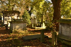 Mausoleums graves covered fallen leaves. Mausoleums and graves covered by fallen leaves at Kensal Green Cemetery in West London Royalty Free Stock Images