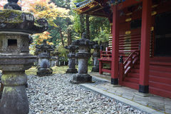 Mausoleums of the Tokugawa Shoguns. In nikko at autumn with red leaves Stock Image