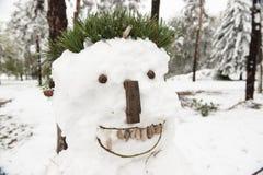 Mauvais bonhomme de neige blanc laid image libre de droits