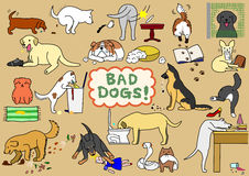 Mauvais chiens réglés illustration stock
