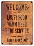 Mauvais grunge de signe de caverne d'homme de nourriture de bière de service photos libres de droits