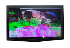 Mauvais signal numérique à la TV Images stock