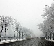Mauvais temps d'hiver de Bucarest photographie stock