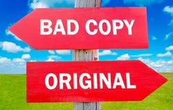 Mauvaise copie ou original Image stock