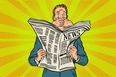 Mauvaise nouvelle effrayante effrayante dans le journal, réponse de lecteur illustration libre de droits