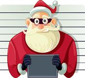 Mauvaise Santa Police Mugshot Vector Cartoon Images libres de droits