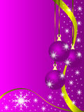 Mauve Christmas Baubles. An abstract Christmas illustration with purple baubles on a lighter backdrop with white snowflakes and room for text vector illustration