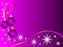 Mauve Christmas baubles. An abstract Christmas illustration with purple baubles on a lighter backdrop with white snowflakes and room for text royalty free illustration