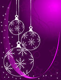 Mauve Christmas Baubles. An abstract Christmas illustration with white outline baubles on a purle backdrop with white snowflakes and room for text stock illustration