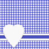 Mauve gingham check background with doily style heart label, cop Stock Photos