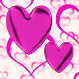 Mauve Hearts On A Heart Background Royalty Free Stock Photo