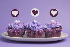Mauve purple decorated cupcakes Stock Photos