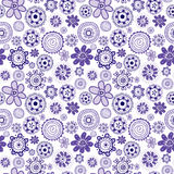 Mauve seamless background with stylized flowers Stock Photography