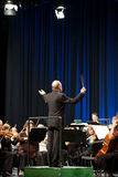 The MAV Symphonic Orchestra performs. BUDAPEST, HUNGARY - 2011 JANUARY 15: The MAV Symphonic Orchestra performs at The Millenaris stage Stock Image