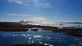 Maverick`s low tide winter time. This is the world famous maverick`s big wave surf spot in northern California. it was taken during winter and it was low tide stock photos