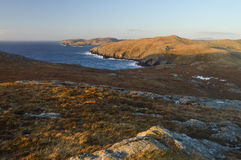 Mavis Grind, beautiful place on Shetland Islands. Beautiful landscape scenery in Mavis Grind on Shetland Islands, cliffs and sea Stock Images