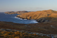 Mavis Grind, beautiful place on Shetland Islands. Beautiful landscape scenery in Mavis Grind on Shetland Islands, cliffs and the sea view from the top of the Stock Photo