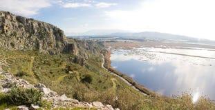 Mavra Ori mountain and Prokopos Lagoon Royalty Free Stock Photos