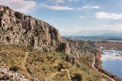 Mavra Ori mountain and Prokopos Lagoon Stock Image