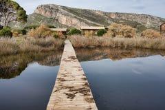 Mavra Ori mountain and Prokopos Lagoon Royalty Free Stock Photo