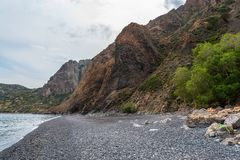 Mavra Volia Beach, Chios, Griekenland royalty-vrije stock fotografie