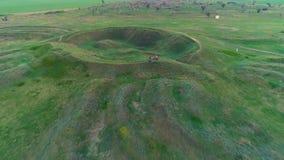 Mavrinsky Maidan Ukraine. Aerial. Historical monument of the ancient civilization mound Mavrinsky Maidan. Ukraine, Dnepropetrovsk region, Pavlograd district stock footage