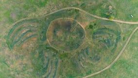 Mavrinsky Maidan Ukraine. Aerial. Historical monument of the ancient civilization mound Mavrinsky Maidan. Ukraine, Dnepropetrovsk region, Pavlograd district stock video footage