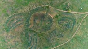 Mavrinsky Maidan Ukraine. Aerial. Historical monument of the ancient civilization mound Mavrinsky Maidan. Ukraine, Dnepropetrovsk region, Pavlograd district stock video