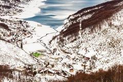 Mavrovo湖,马其顿 免版税库存照片