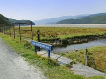 Mawddach trail wales. Mawddach cycle and hiking trail between barmouth and Dolgellau along the estuary gwynedd North Wales UK Mawddach cycle and hiking trail Royalty Free Stock Images