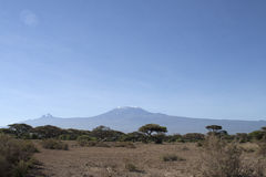 Mawenzi and Kibo peaks in Kilimandaro. Picture taken from Kenya in 2006. These two peaks are part of the Kilimanjaro monutains Royalty Free Stock Images
