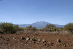 Mawenzi and Kibo peaks in Kilimandaro Royalty Free Stock Images