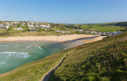Mawgan Porth beach north Cornwall England near Newquay summer day with blue sky Royalty Free Stock Photos