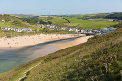 Mawgan Porth beach north Cornwall England near Newquay summer day with blue sky Royalty Free Stock Image